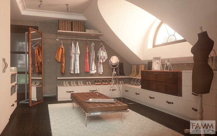 Walk in closet de estilo  por FAMM DESIGN