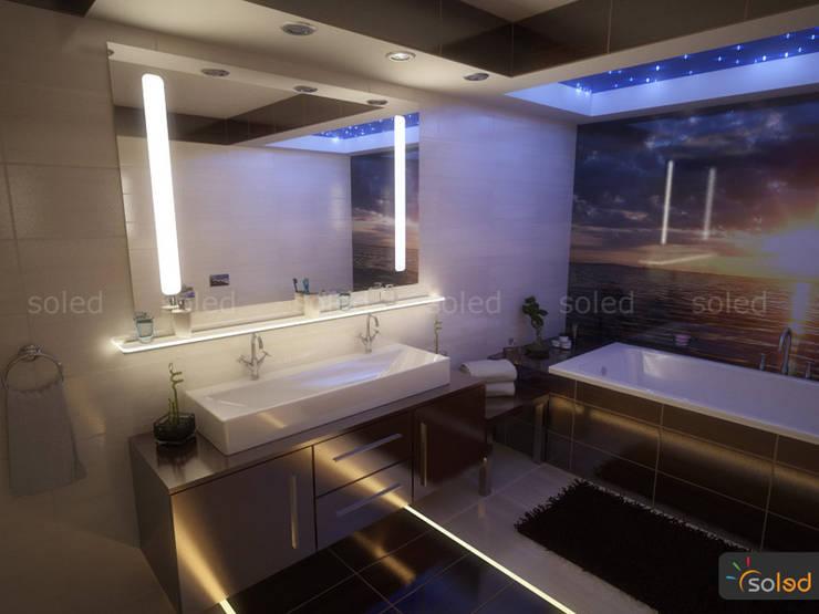 Lustra LED Pattern Light marki Soleda Mirror – na wymiar: styl , w kategorii Łazienka zaprojektowany przez SOLED Projekty i Dekoracje Świetlne Jacek Solka,