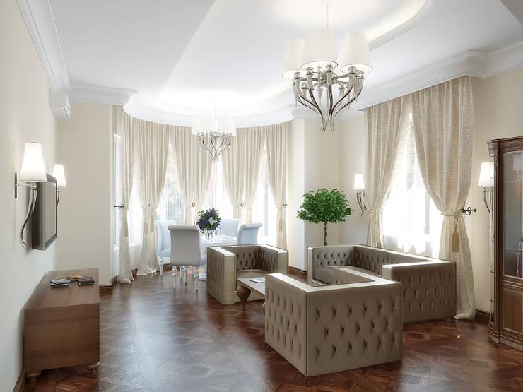 Коттедж в Троицке : Гостиная в . Автор – Симуков Святослав частный дизайнер интерьера