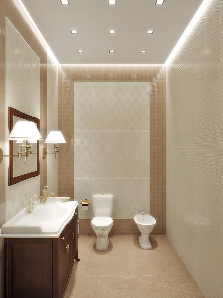 Коттедж в Троицке : Ванные комнаты в . Автор – Симуков Святослав частный дизайнер интерьера