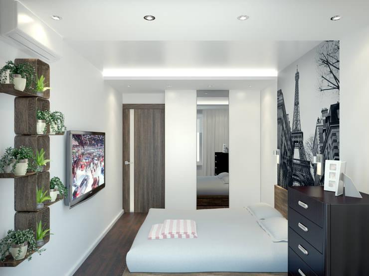 Квартира в Перово : Спальни в . Автор – Симуков Святослав частный дизайнер интерьера