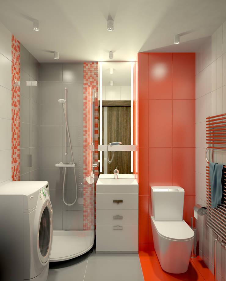 Квартира в Перово : Ванные комнаты в . Автор – Симуков Святослав частный дизайнер интерьера