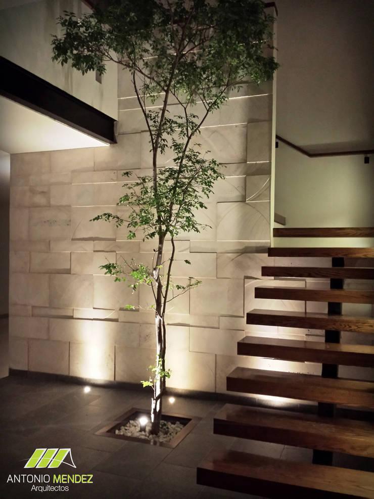 Casa Punta del Bosque: Pasillos y recibidores de estilo  por ANTONIO MENDEZ ARQUITECTOS