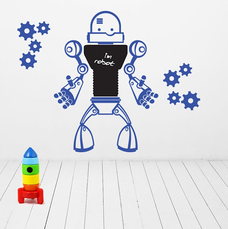 NAKLEJKA TABLICA DO PISANIA KREDĄ ROBOT: styl , w kategorii Pokój dziecięcy zaprojektowany przez Pracownia Golden Sheep