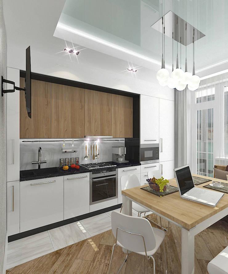 """Квартира в элитном жилом комплексе """"Парус"""": Кухни в . Автор – Design Rules,"""