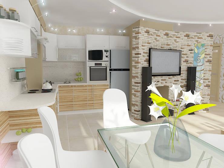 Четырехкомнатная квартира: Гостиная в . Автор – Design Rules,