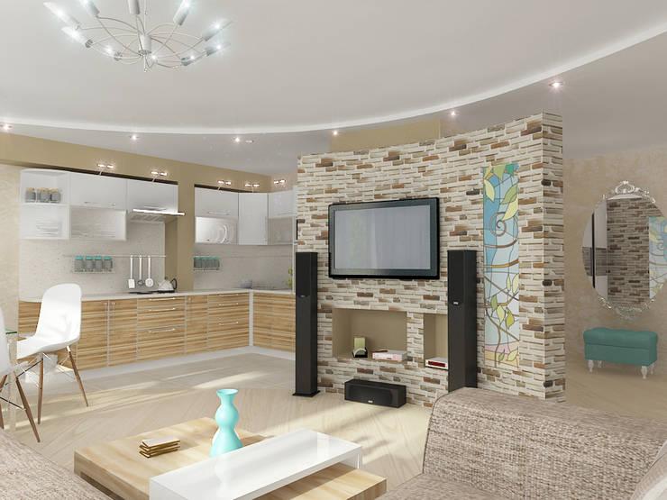 Четырехкомнатная квартира: Гостиная в . Автор – Design Rules