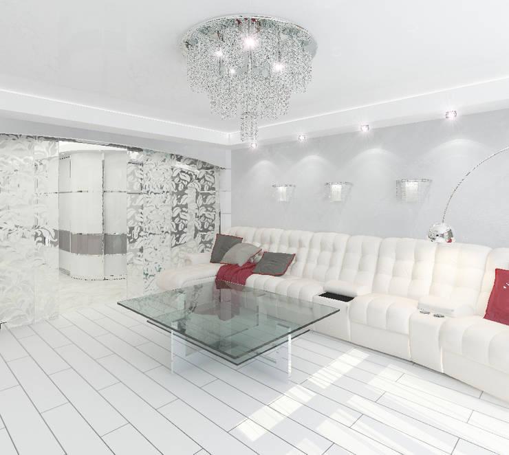 Трехкомнатная квартира в элитном жилом комплексе: Гостиная в . Автор – Design Rules,