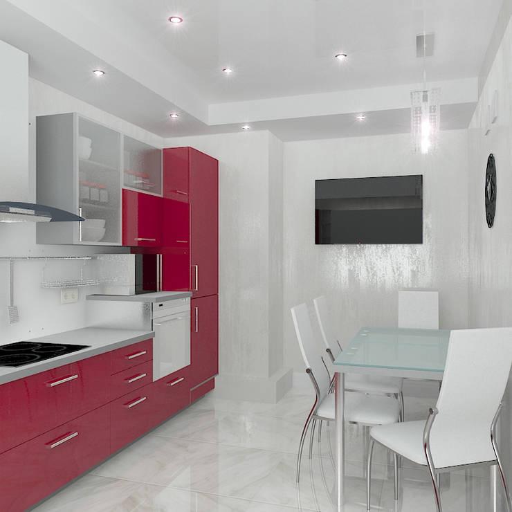 Трехкомнатная квартира в элитном жилом комплексе: Кухни в . Автор – Design Rules