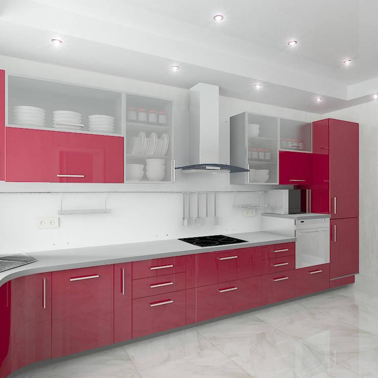 Трехкомнатная квартира в элитном жилом комплексе: Кухни в . Автор – Design Rules,