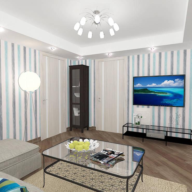 Двухкомнатная квартира в жилом комплексе <q>Онежский дворик</q>: Гостиная в . Автор – Design Rules