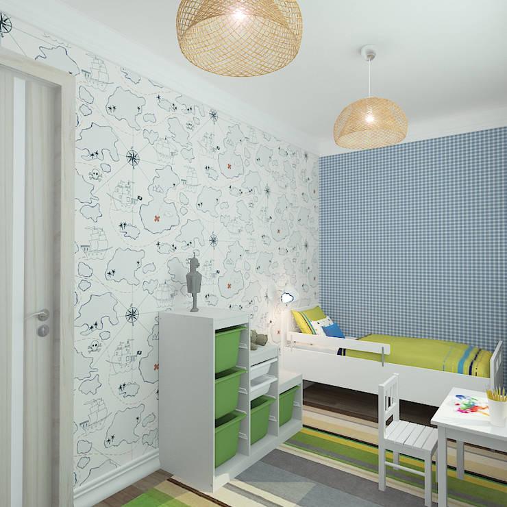 Двухкомнатная квартира в жилом комплексе <q>Онежский дворик</q>: Детские комнаты в . Автор – Design Rules