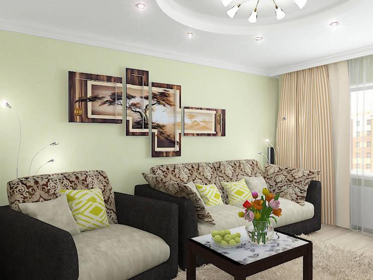 """Двухкомнатная квартира в жилом комплексе """"Юбилейный"""": Гостиная в . Автор – Design Rules,"""
