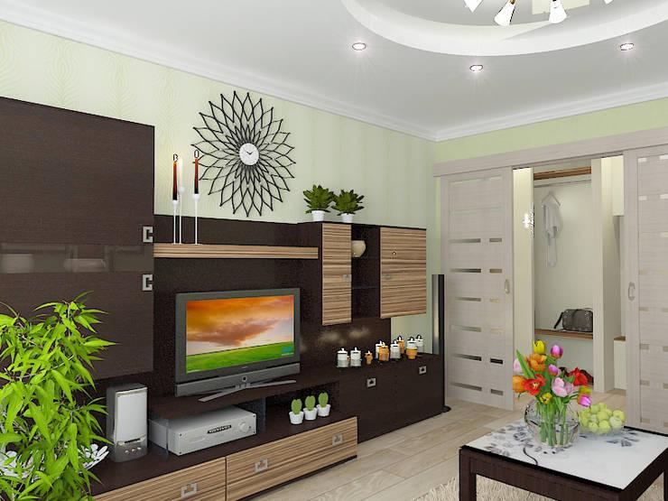 Двухкомнатная квартира в жилом комплексе <q>Юбилейный</q>: Гостиная в . Автор – Design Rules,