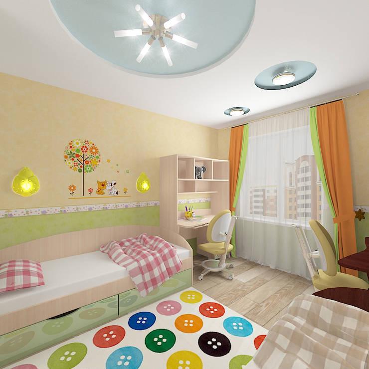Двухкомнатная квартира в жилом комплексе <q>Юбилейный</q>: Детские комнаты в . Автор – Design Rules,