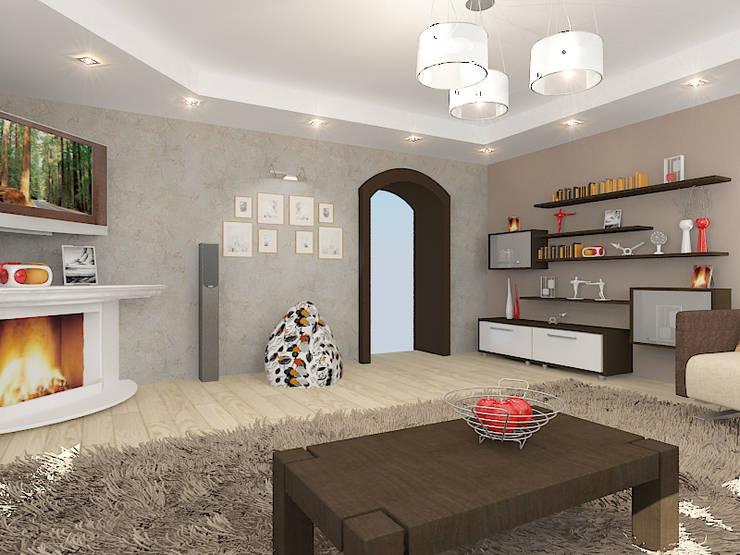 Коттедж в поселке Сепыч: Гостиная в . Автор – Design Rules