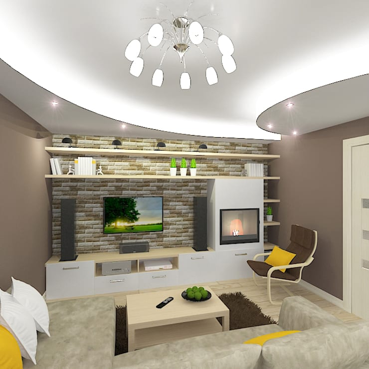 Трехкомнатная квартира: Гостиная в . Автор – Design Rules,
