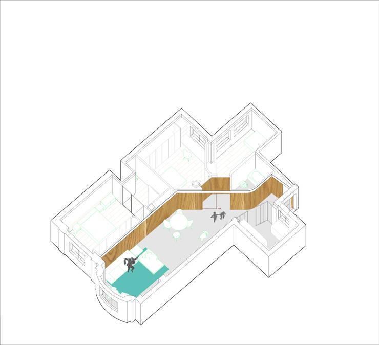 Axonometría conceptual: Casas de estilo  de MADG Architect
