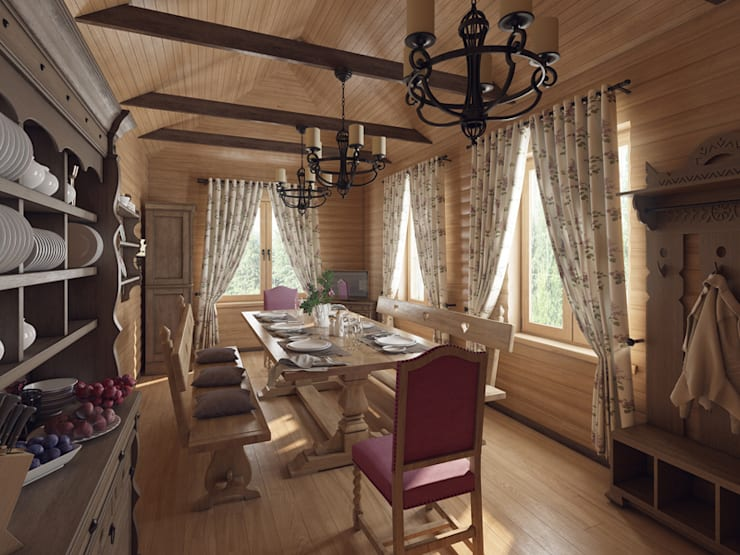 Охотничий домик: Столовые комнаты в . Автор – студия дизайна mnDesire
