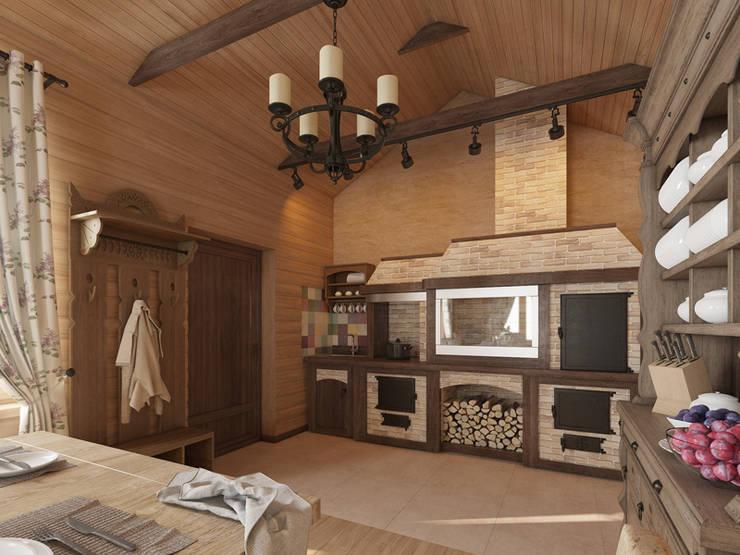 Охотничий домик: Кухни в . Автор – студия дизайна mnDesire