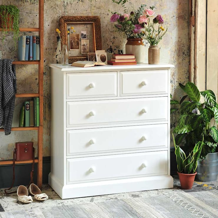 Burford Painted 2+3 Drawer Narrow Chest: country Bedroom by The Cotswold Company