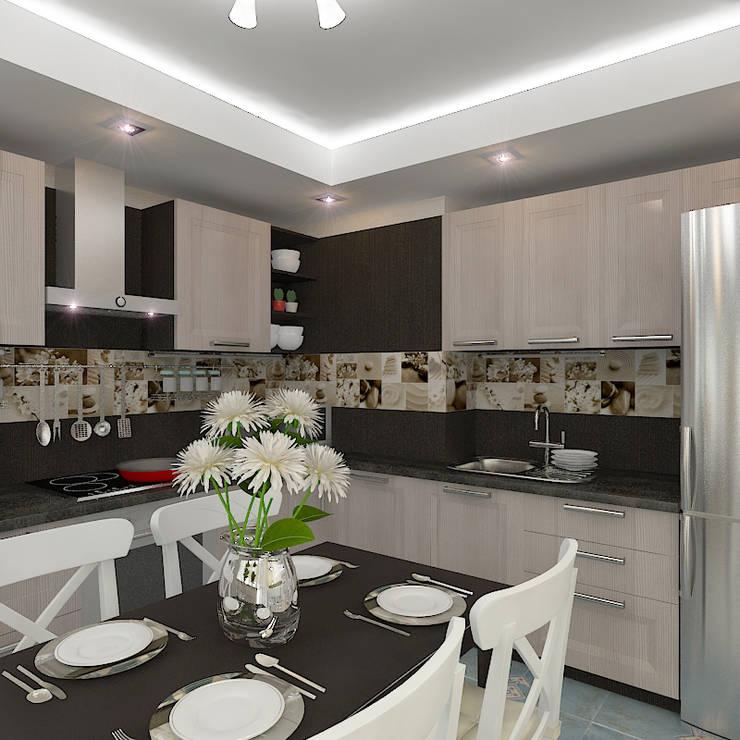 Трехкомнатная квартира в жилом комплексе <q>Онежский дворик</q>: Гостиная в . Автор – Design Rules
