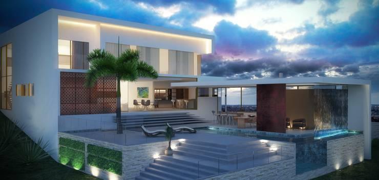 Projeto Pedra Alta: Casas minimalistas por Alessandra Duque Arquitetura & Interiores