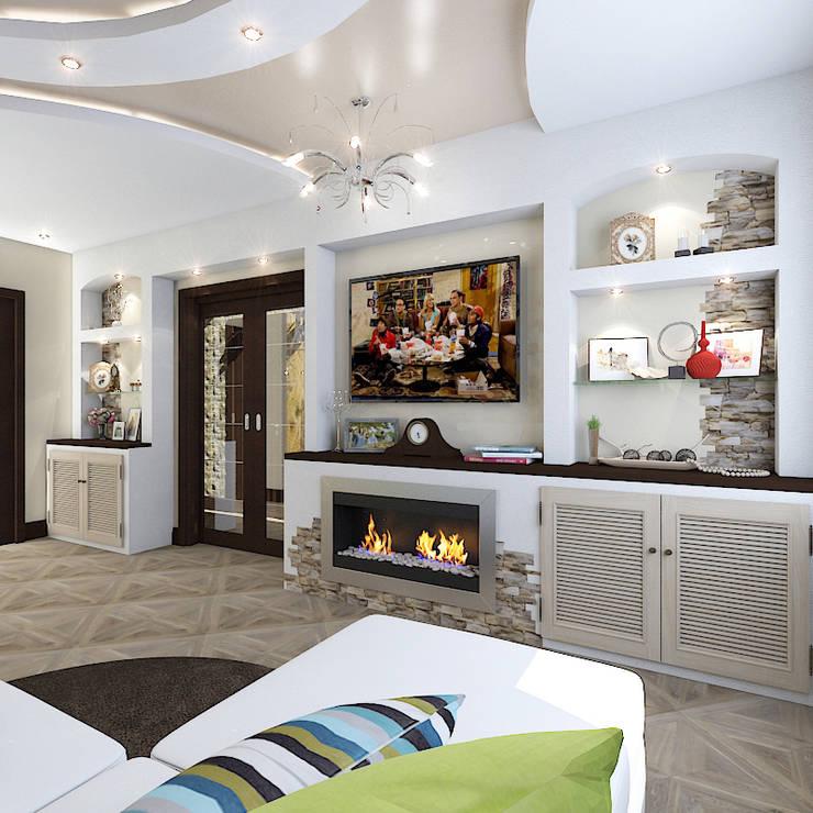Трехкомнатная квартира: Гостиная в . Автор – Design Rules