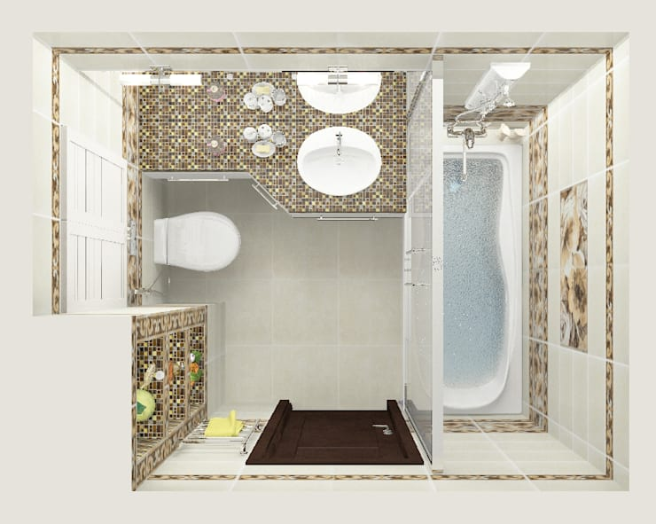 Трехкомнатная квартира: Ванные комнаты в . Автор – Design Rules
