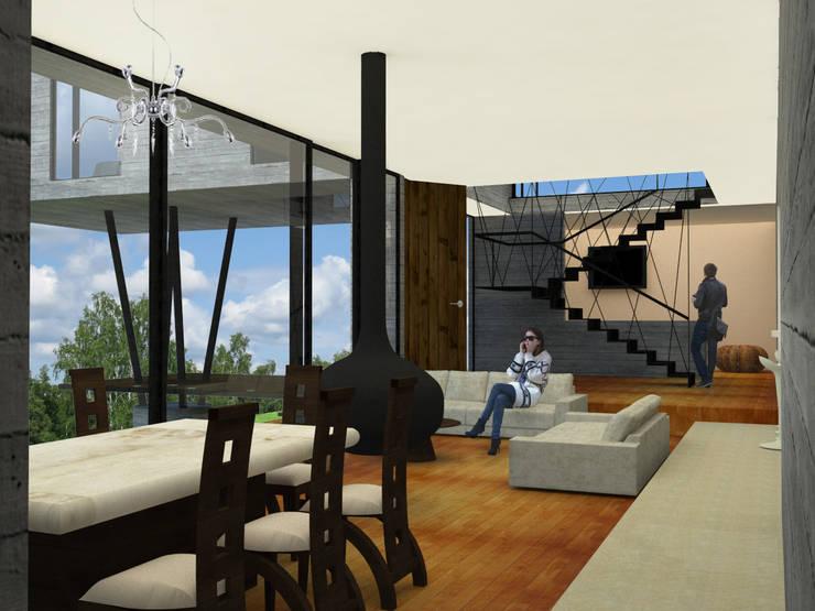 Interior estancia / escalera: Casas de estilo  por SERVER arquitectura y construcción