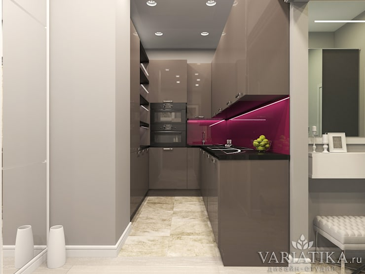 Дизайн квартиры в ЖК Галактика, 50 кв.м.: Кухни в . Автор – variatika