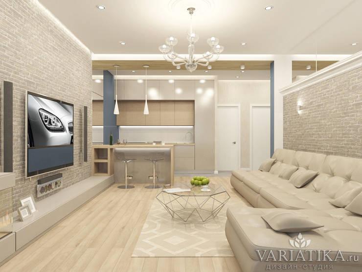 Дизайн квартиры в ЖК Кутузов: Гостиная в . Автор – variatika