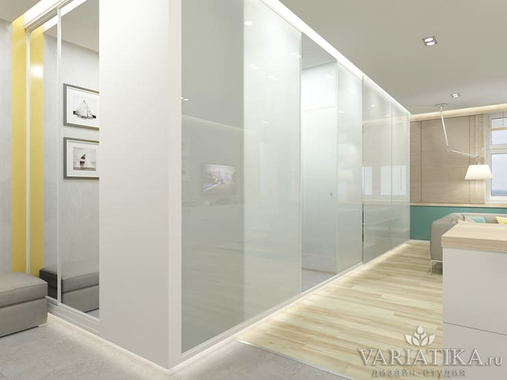 Дизайн квартиры в ЖК Арт, 44 кв.м.: Гостиная в . Автор – variatika
