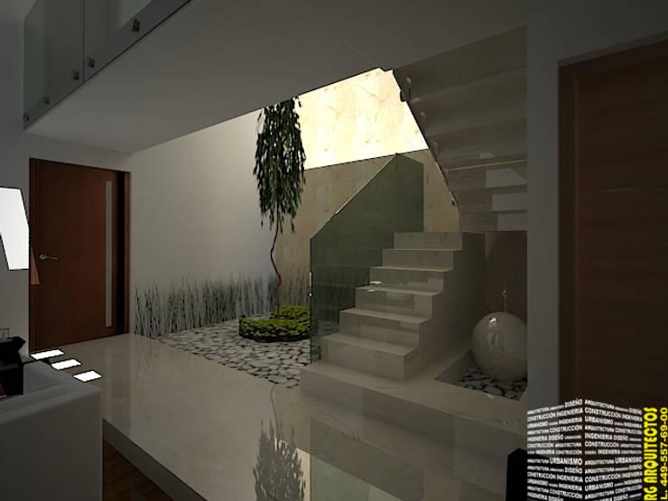 ESCALERA CON FUENTE: Pasillos y recibidores de estilo  por HHRG ARQUITECTOS