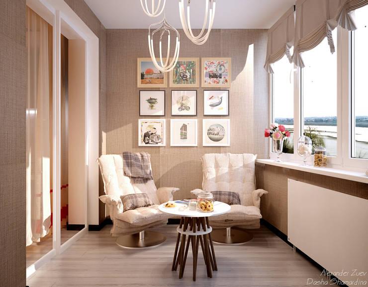 """Дизайн балкона в современном стиле в ЖК """"Новый город"""": Tерраса в . Автор – Студия интерьерного дизайна happy.design"""
