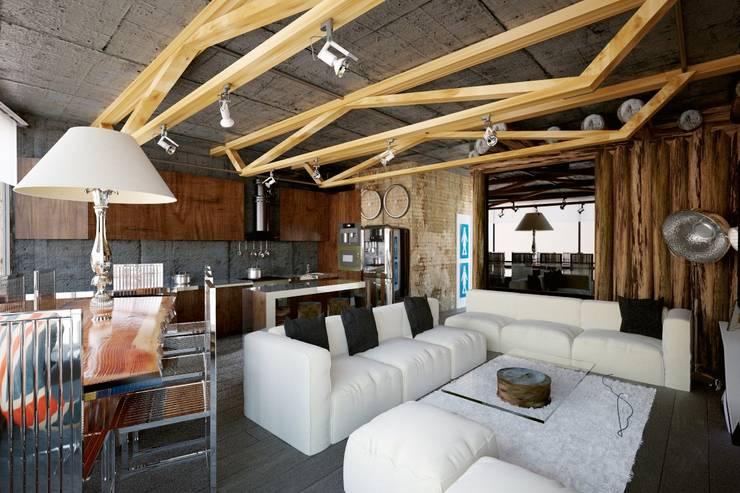 Aerobus: styl , w kategorii Salon zaprojektowany przez Shtantke Interior Design,