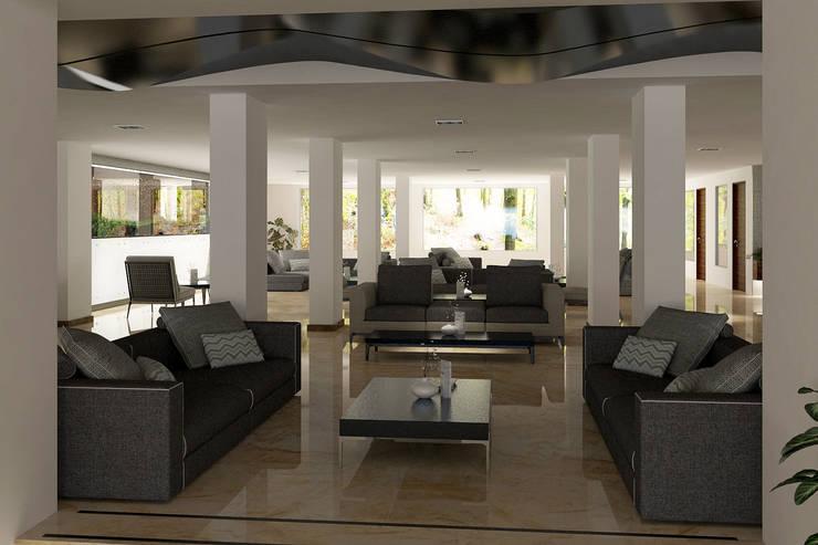 FARGO DESIGNS – HOTEL LOBBY:  tarz Oturma Odası, Modern Ahşap Ahşap rengi