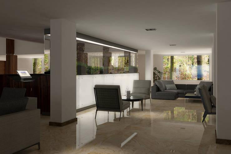 FARGO DESIGNS – HOTEL LOBBY:  tarz Oturma Odası, Modern Mermer
