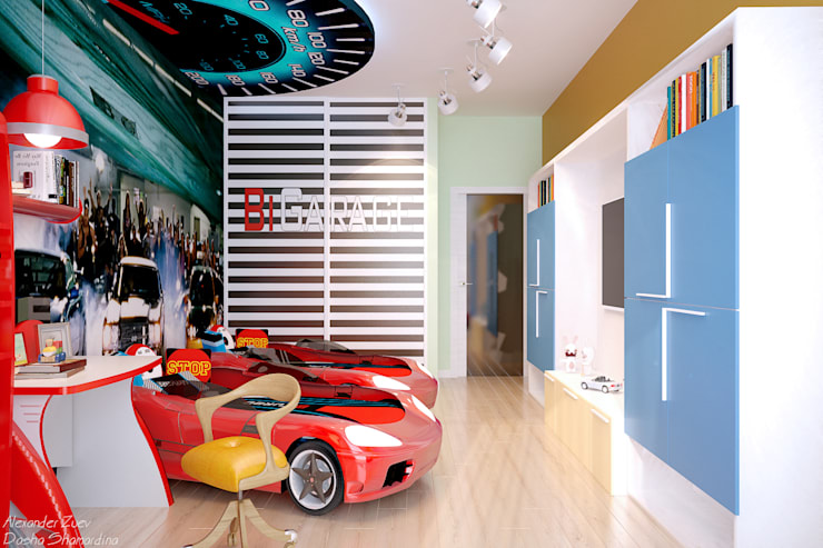 """Дизайн детской мальчиков-близнецов в авто-стиле в ЖК """"Новый город"""": Детские комнаты в . Автор – Студия интерьерного дизайна happy.design,"""
