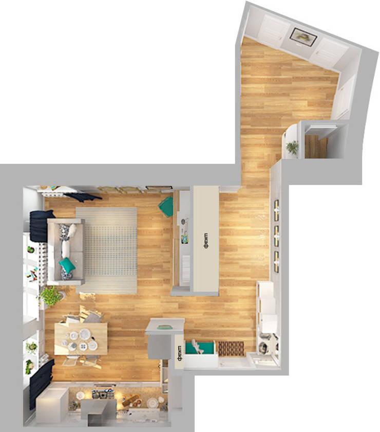 Трехкомнатная квартира:  в . Автор – Design Rules,