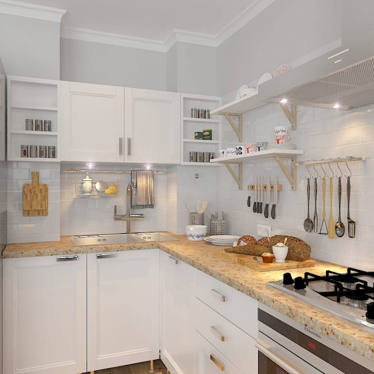 Трехкомнатная квартира: Кухни в . Автор – Design Rules,