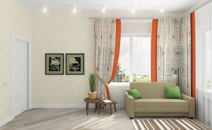 Компактный загородный дом: Гостиная в . Автор – Design Rules