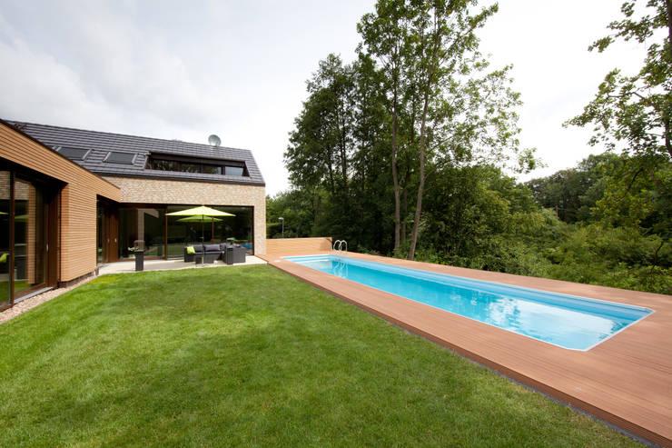 Gartenansicht 3, Berkelaue: moderner Garten von Hermann Josef Steverding Architekt