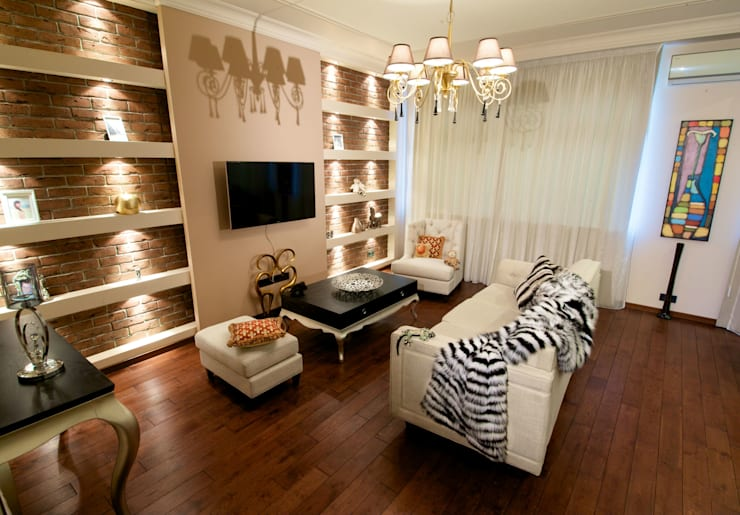Квартира на Крупской (гостиная): Гостиная в . Автор – Дизайн-студия «ARTof3L»,