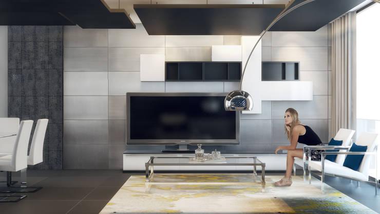 Departamento B-12: Salas multimedia de estilo  por CONTRASTE INTERIOR