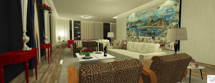 O Estar do 04 quartos: Salas de estar  por Rangel & Bonicelli Design de Interiores Bioenergético,Moderno
