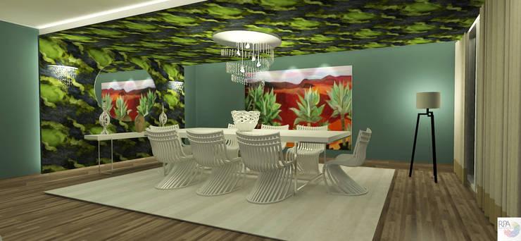 Sala de jantar do 04 quartos: Salas de jantar  por Rangel & Bonicelli Design de Interiores Bioenergético