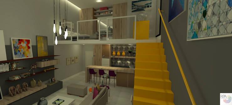 O loft do Solteiro: Salas de estar  por Rangel & Bonicelli Design de Interiores Bioenergético,Moderno