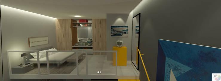 O Loft do Solteiro: Quartos  por Rangel & Bonicelli Design de Interiores Bioenergético,Moderno