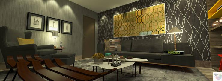 A Sala de TV e leitura: Salas multimídia  por Rangel & Bonicelli Design de Interiores Bioenergético